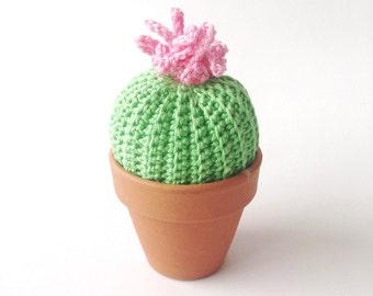 Crochet Turk's Cap Cactus with pink flower