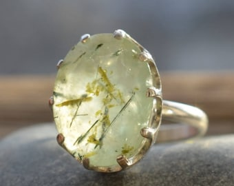 Prehnite  Ring. Statement Ring With Amazing Rutilated Prehnite. Gemstone and Sterling silver. Gemstone Jewelry. Gift Idea. Present for her.