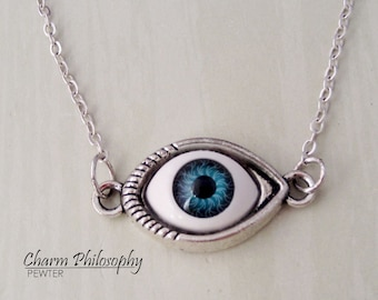 Eye necklace eye pendant deathly hollows necklace triangle eyeball necklace blue eye jewelry antique silver toned jewelry aloadofball Choice Image