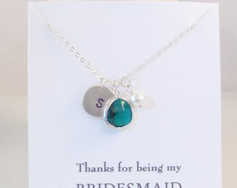 Thanks for being my Bridesmaid Necklace,EmeraldNecklace,GreenBridesmaid,Bridesmaid,Initial Necklace,Emerald,Necklace,Bride,Wedding,May