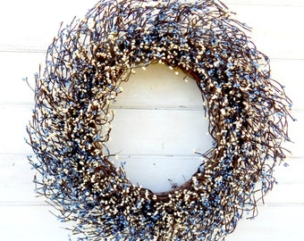 Christmas Door Wreath-Holiday Home Decor-Chistmas Mantle Wreath-Large Farmhouse BLUE & WHITE Wreath-Wedding Wreath-Wreath for Fireplace