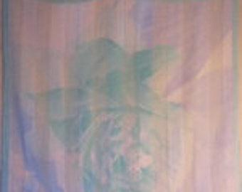1970's Sheer Scarf in Pastel pink, blues, teals and greens