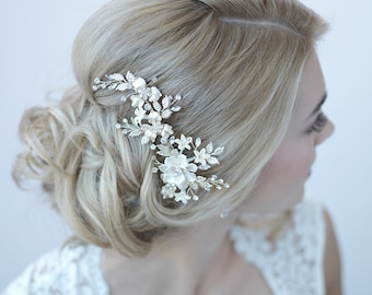 Ivory & Gold Floral Clip, Bridal Hair Accessory, Gold Bridal Hair Clip, Floral Bridal Clip, Gold Hair Comb, Gold Headpiece, TC-2274
