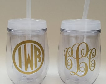 Personalized Wine Tumbler, Stemless Wine Tumbler Monogrammed, Bridesmaid Bride Gift Bachelorette With Lid and Straw