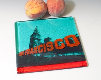 Greetings from San Francisco Fused Glass Trivet | Ferry Building - Made to Order