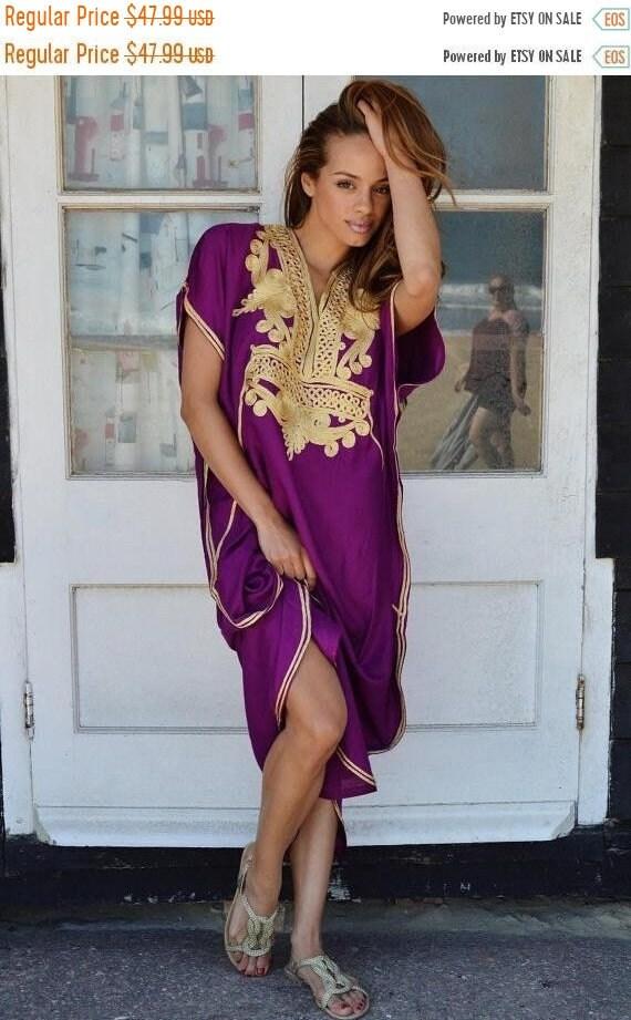 Kaftan Sale 20% Off/ Plum Purple with Gold Marrakech Resort Caftan Kaftan -beach cover ups, resortwear,loungewear, maxi dresses, birthdays