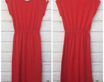 Sz Large - Red/Orange Dress - Vintage 1970's