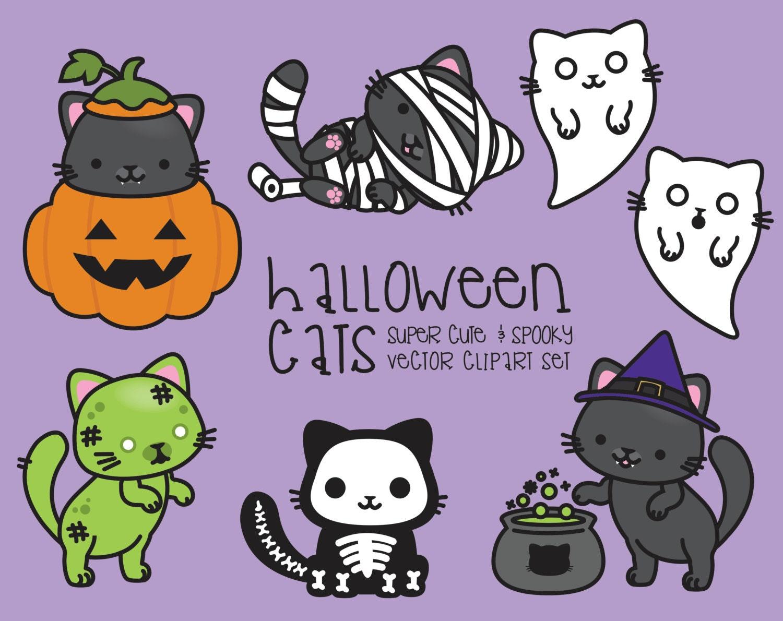 Premium Vector Clipart Kawaii Halloween Cats Cute