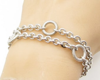 Jane bohan 925 sterling silver - contemporary doubled o ring bracelet -  b1176