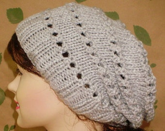 Silver gray lacy slouchy hat, winter hat, womens knit hat, gray hat, toque, slouchy beanie, lacy hat, snowboard, gray slouchy hat, chemo cap