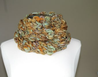 Chunky Knit Merino Wool Cowl, Rust and Green Hand Knit Cowl for Men or Women, Big Knit Cowl Browns and Greens, Merino Wool Knit Winter Scarf