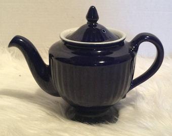 Vintage Hall Pottery Blue Cobalt Teapot
