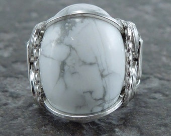 Sterling Silver Howlite Cabochon Wire Wrapped Ring