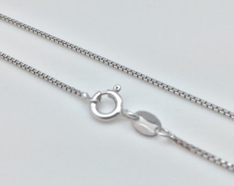 Rhodium Plated Box Chain // 925 Sterling Silver // Non Tarnishing Silver Box Chain // 1mm Gage Silver Box Chain // Spring Clasp