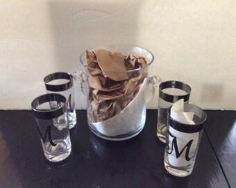 Vintage Monogram Ice Bucket & Glasses
