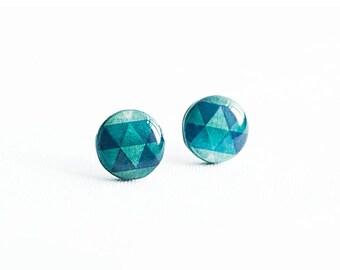 Emerald stud earrings, geometric jewellry, bright stud earrings handmade
