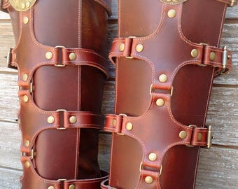 Brown Leather Shin Guards, Shinguards or Gaiters with Antiqued Brass Hardware and Ethiopian Shield