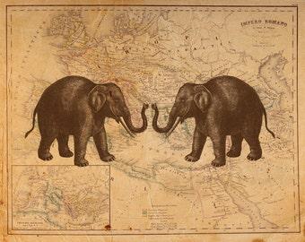 Vintage Elephant on Antique Roman Empire Map Print 8x10 P67