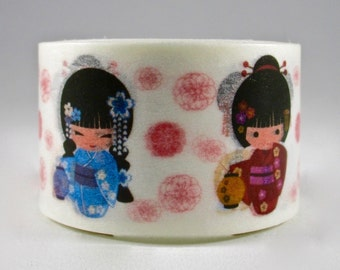 SALE  Kokeshi Girls, Wide Washi Tape  25mm x 10 meters, Artwork by Natalia Linn for MechaKucha808-Tape