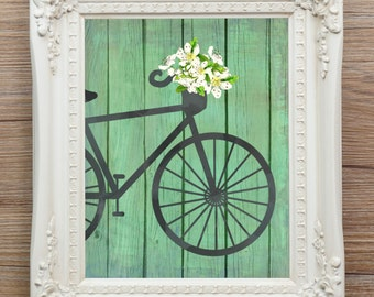 SALE, Bicycle print, printable, 25% off, flowers, 8 x 10, watercolor, ink, turquoise, green, white, instant download, grunge, Paris, bike