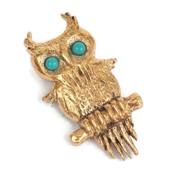 Designer Owl Pin Turquoise Eyes Gold Tone Vintage Figural Bird