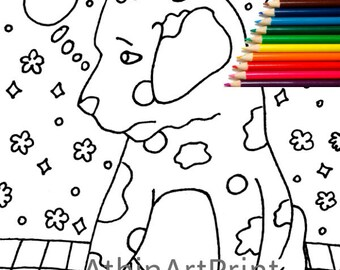 Kids Coloring Pages, Dog Coloring, Coloring Page, Printable Coloring Pages, Kids Coloring pages, Digital Coloring Page, INSTANT DOWNLOAD