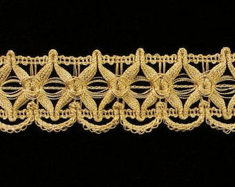 "747.5 Metallic gimp trim ""Star"" Tudor Gold - 1-3/8"" (35mm), Tudor gold trim, metallic gold trim, gold metallic gimp, wide gold gimp"