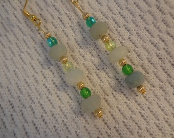 Stunning Green Amazonite Long Dangle Beaded 22k Gold Earrings - Denise  F080