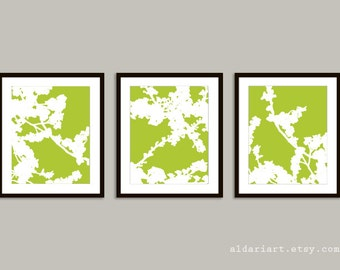 Cherry Blossoms Art Prints - Set of 3 - Green and White Flower Art - Nature Home Decor - Modern Spring Tree Wall Art