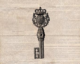 Digital Antique Key Illustration - Vintage Antique Key - Skeleton Key Graphic - Keys Printable Clipart -  Illustration INSTANT DOWNLOAD