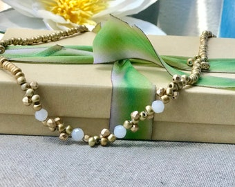 Womens Necklace - Long Beaded Czech Glass Necklace- Mother's Day Gift