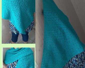 Green shawl in half granny square with tassels
