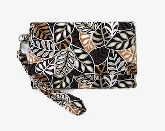 Brown Cushioned Phone Wristlet Wallet - Women's iPhone Wallet - Brown Clutch - Smartphone Wristlet - Cell Phone Wallet