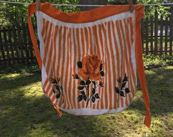 Vintage Coral/White Terry Cloth Half  Apron with Roses
