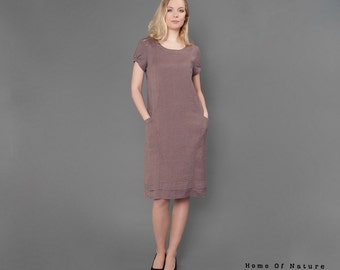 Linen dress, linen summer dress, linen clothing for women, womens linen clothes, taupe dress, taupe clothes, linen dresses for women, womens