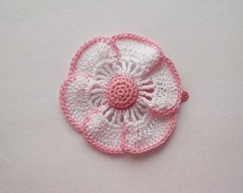 flower hair clip, daisy hair clip, pink flower, pink daisy, girls hair, girls hair clip