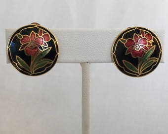 Cloisonne Earrings, Red Flowers, Vintage, Black, Gold, Dome, Clip On