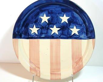 Americana Pottery Platter, Stars and Stripes Vintage Pottery Serving Plate