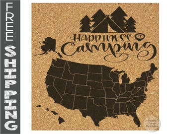Us corkboard map Etsy