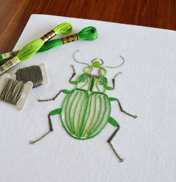 Anatomical beetle hand embroidery pattern modern