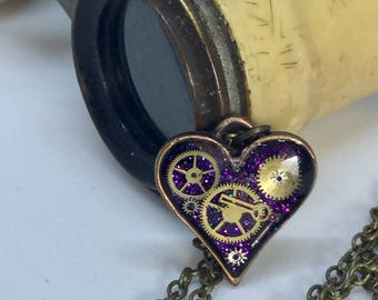 Timeless small purple steampunk heart pendant