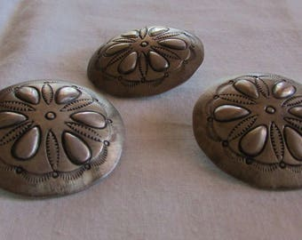 Three Large Sterling Silver Handmade Repousse Buttons