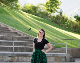 Slytherin Inspired Green and Black Plaid Flannel Circle Swing Skirt