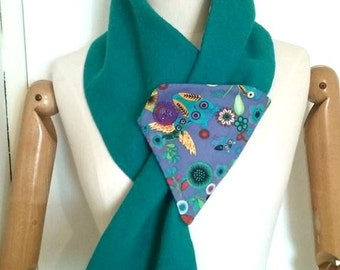 turquoise boiled wool cowl, purple turquoise owls print fabric