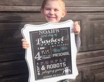First Day of School Sign, Back to School sign, Preschool Sign, Chalkboard sign, Digital Download Blackboard sign, Kids School Sign,