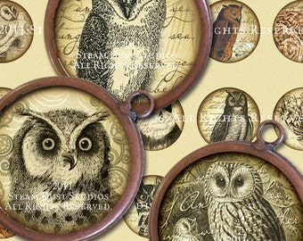 Textured Victorian Owls - 30mm Circles - Steampunk, Goth - Digital Collage Sheet - Instant Download and Print
