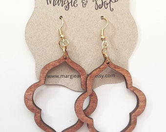 Wood Quatrefoil Earrings