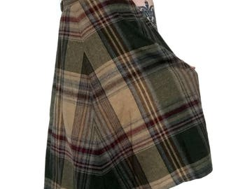Vintage Thin Wool Plaid High Waisted Skirt in Neutral Tones