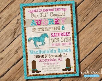 Cowgirl Western Birthday Invitation, Western Party, Horseback Riding invitation, Printable Birthday Party Invitation