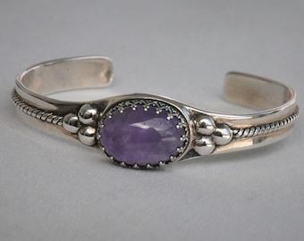 Carolyn Pollack Relios Cabochon Amethyst Cuff Bracelet, Sterling Silver Amethyst Cuff Bracelet, Sterling Cuff Bracelet, Southwestern Cuff